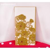 Vestuviniai kvietimai aukso spalvos lazeriu pjaustyti, gėlės