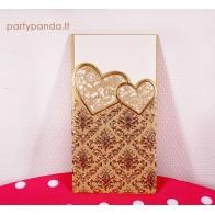 Vestuviniai kvietimai aukso spalvos lazeriu pjaustyti, širdelės