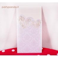 Vestuviniai kvietimai perlo spalvos lazeriu pjaustyti, širdelės