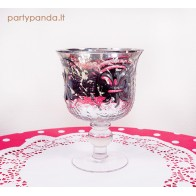 Sidabro spalvos elegantiška taurė-žvakidė