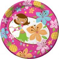 """Popierinės lėkštutės """"Tropikų mergaitė"""" (8 vnt./18 cm)"""