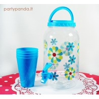 Plastikinis indas su kraneliu, mėlynas
