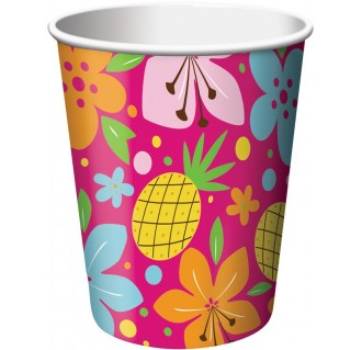 """Popieriniai puodeliai """"Tropikų mergaitė"""" (8 vnt./266 ml)"""