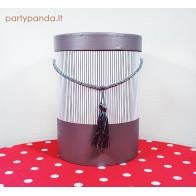 Cilindro formos dovanų dėžutė su kutu rusvos spalvos, didelė