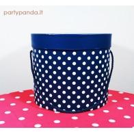 Cilindro formos dovanų dėžutė su taškeliais mėlyna, didelė
