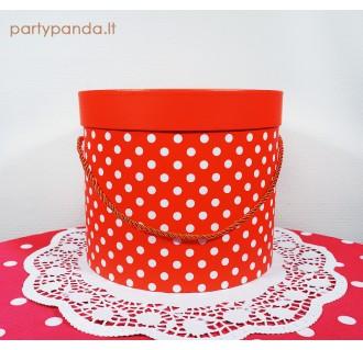 Cilindro formos dovanų dėžutė su taškeliais raudona, vidutinė