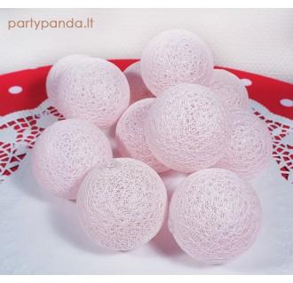 """Medvilninių burbulų lempučių girlianda """"Rožiniai debesėliai"""", 30 vnt."""