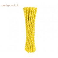 Gėrimų popieriniai šiaudeliai, geltoni su taškiukais, 24 vnt.