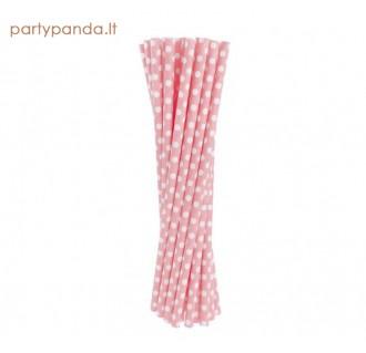 Gėrimų popieriniai šiaudeliai, rožiniai su taškiukais, 24 vnt.