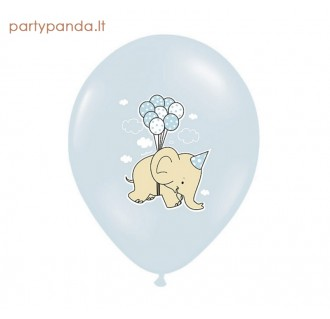 Žydras balionas su drambliuku, 30 cm