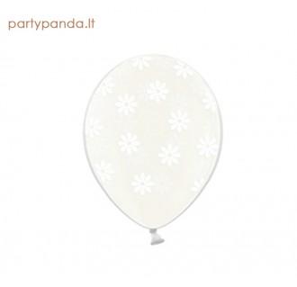 Permatomas balionas su baltomis gėlėmis, 30 cm