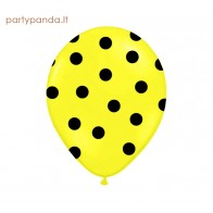 Yeallow balloon with black dots, 30 cm