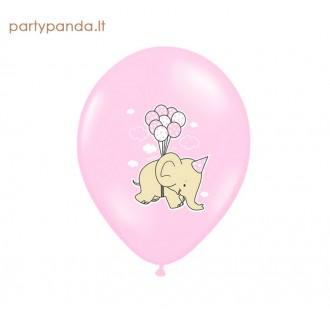 Rožinis balionas su drambliuku, 30 cm