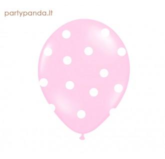 Rožinis balionas su baltais taškeliais, 30 cm