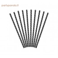 Black paper straws with white dots, 10 pcs