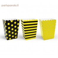 Popcorn boxes black, yellow, 6 pcs.