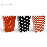 Snack boxes black, red, 6 pcs.