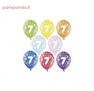 Spalvotas metalizuotas balionas su skaičiumi 7