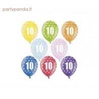 Spalvotas metalizuotas balionas su skaičiumi 10