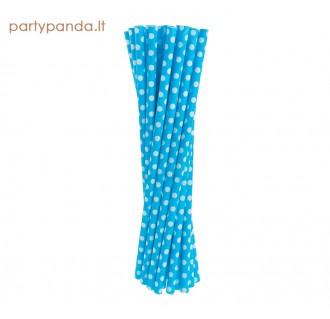 Gėrimų popieriniai šiaudeliai, mėlyni su taškiukais, 24 vnt.