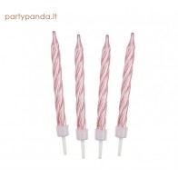 Pink pearl birthday candle, 12 pcs