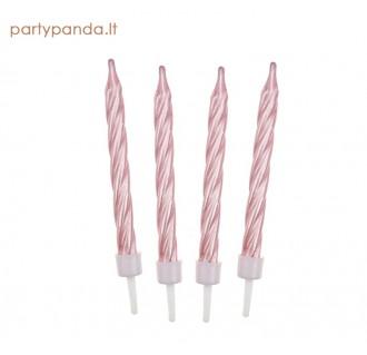 Rožinės perlamutrinės gimtadienio žvakutės, 12 vnt.