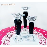 Prabangi juoda stiklinė žvakidė, vidutinė