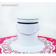 Cilindro formos balta dėžutė su juoda juostele, maža