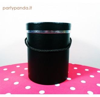 Cilindro formos juoda dėžutė su sidabrine juostele, vidutinė