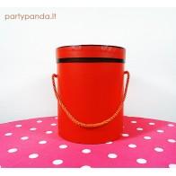 Cilindro formos raudona dėžutė su juoda juostele, vidutinė