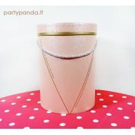 Cilindro formos rožinė dovanų dėžutė, didelė
