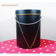 Cilindro formos juoda dovanų dėžutė, vidutinė