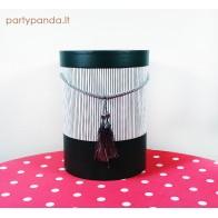 Cilindro formos dovanų dėžutė su kutu pilkos spalvos, vidutinė