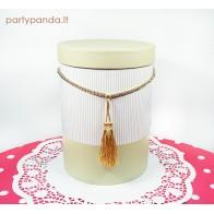 Cilindro formos dovanų dėžutė su kutu smėlio spalvos, didelė