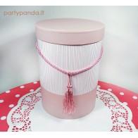 Cilindro formos dovanų dėžutė su kutu rožinės spalvos, didelė