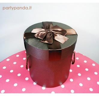 Cilindro formos dovanų-gėlių dėžutė ruda, didelė