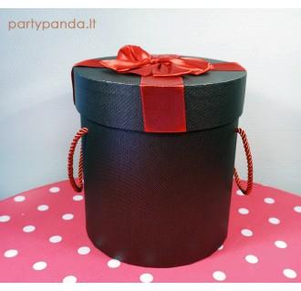 Cilindro formos dovanų-gėlių dėžutė ruda-raudona, maža