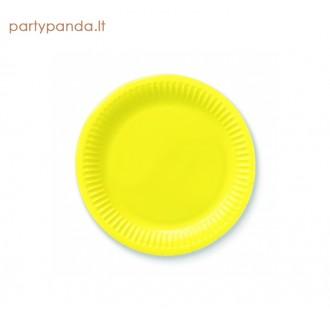 Vienkartinės popierinės ryškiai geltonos lėkštutės (6 vnt./18 cm)