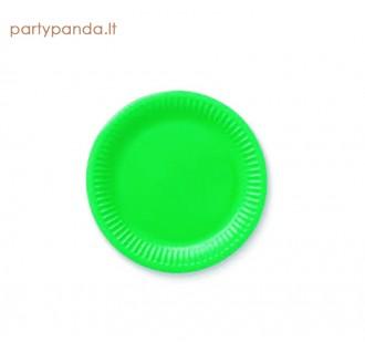 Vienkartinės popierinės ryškiai žalios lėkštutės (6 vnt./18 cm)