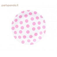 Vienkartinės popierinės su rožiniai taškeliais (6 vnt./18 cm)