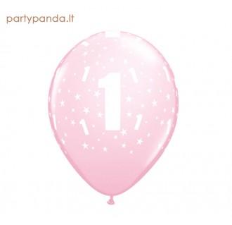 Rožinis balionas su skaičiumi 1