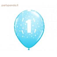 žydras balionas su skaičiumi 1