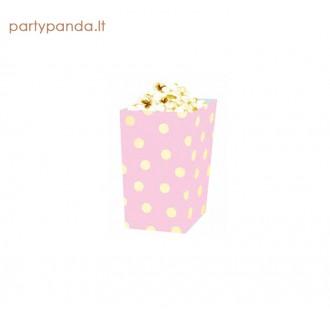 Užkandžių dėžutės rožinės su auksiniais taškeliais, 4 vnt.