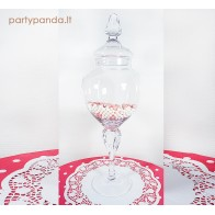 Elegantiškas stiklinis indas su žaviu dangteliu ant kojelės