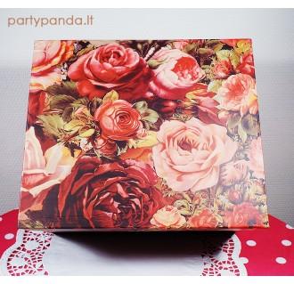 Stačiakampė dovanų, gėlių dėžutė, su rožėmis, įvairių dydžių