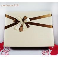 Ruda/kreminė stačiakampė dovanų, gėlių dėžutė su kaspinu, maža