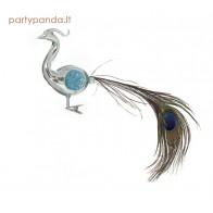 Stiklinis paukštelis su povo plunksna