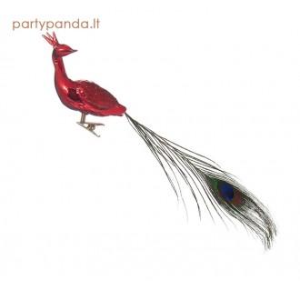 Stiklinis paukštelis su povo plunksna, raudonas