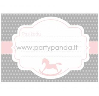 """Pažadų kortelė """"Rožinis supamasis arkliukas"""" 10x7 cm"""