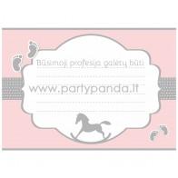 """Būsimos profesijos spėjimo kortelė """"Rožinis supamasis arkliukas"""" 10x7 cm"""